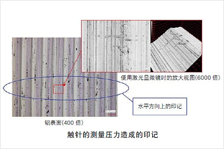 触针的测量压力造成的印记